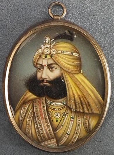 Antique 19th century Indian Sikh miniature portrait Maharaja Sher Singh-SOLD