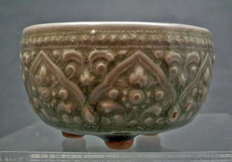 Chinese Yuan-Ming Dynasty (1279-1644) Celadon Tripod Censer Incense Burner