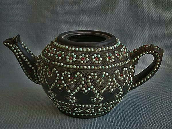 Antique Islamic Turkmen Uzbek Turquoise Inlaid Chlorite Stone Teapot