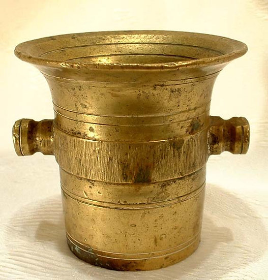 Antique Miniature Pharmaceutical Brass Mortar early 19th c