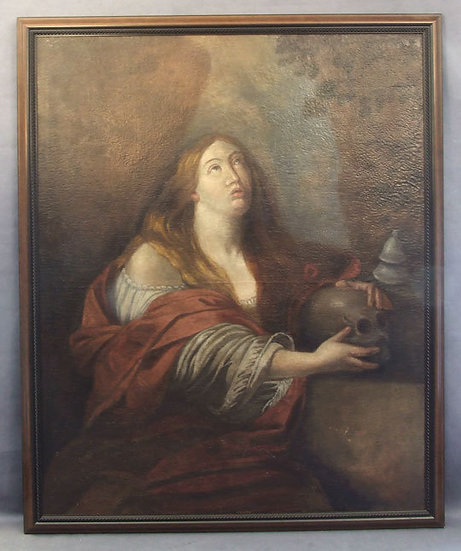 Antique 17th Century Baroque Oil painting on Canvas Mary Magdalene