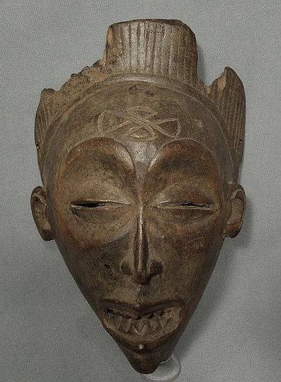 Antique 19th Century African Wood Mask Chokwe Angola
