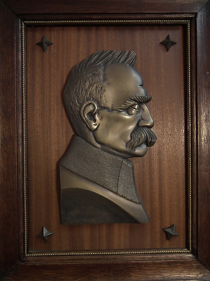 Antique Art Deco Bronze Relief Portrait Plaque Polish Marshal Jozef Pilsudski