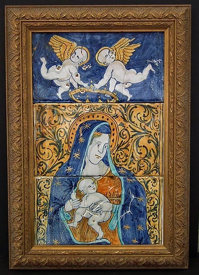 Antique 17th-18th century Italian Majolica Pottery Tiles Virgin Mary With Baby J