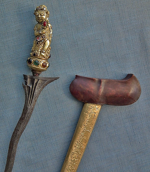 SOLD Antique Indonesian Dagger Sword Keris Kris Gold Gilded Bayu Hilt