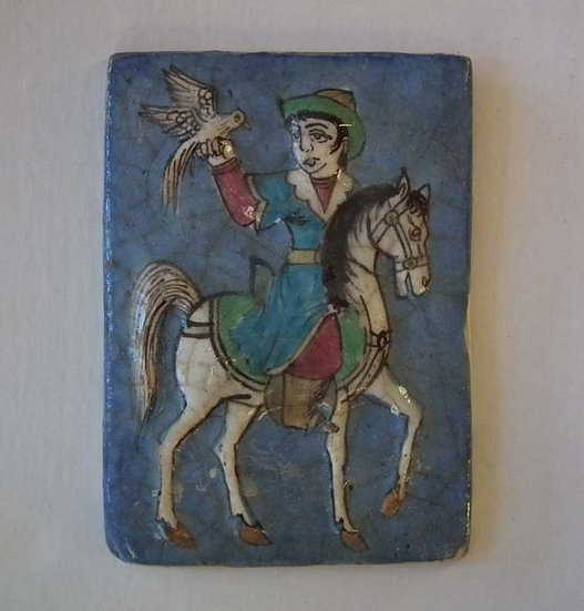 Antique 19th century Islamic Persian Qajar Ceramic Tile Prince On Horseback