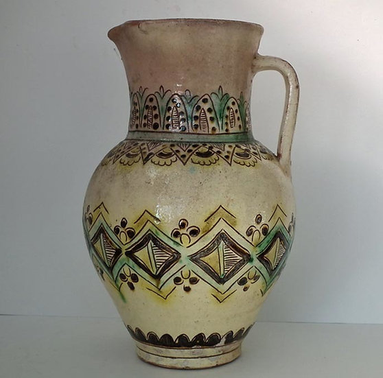 Antique Ukrainian Hutsul Ceramic Pitcher 19th Century Ukraine