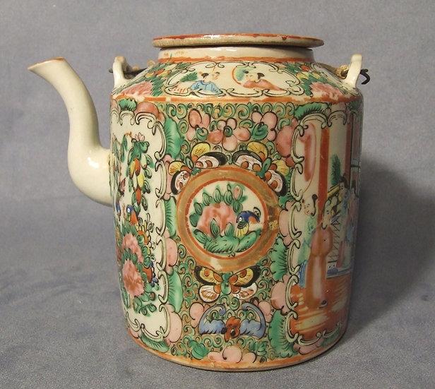 Antique Chinese Mandarin Rose Tea Pot Quing Dynasty 19th century