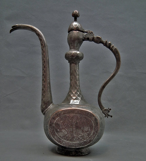 Antique 18-19th century Islamic Indo Persian Tined Copper Ewer
