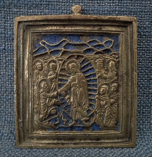 Antique Russian Orthodox Brass & Enamel Icon Anastasis