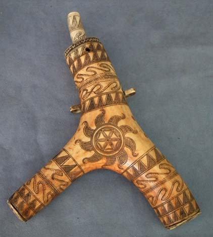 Antique Hungarian Gun Powder Flask Horn Transylvanian 17th -18th Century
