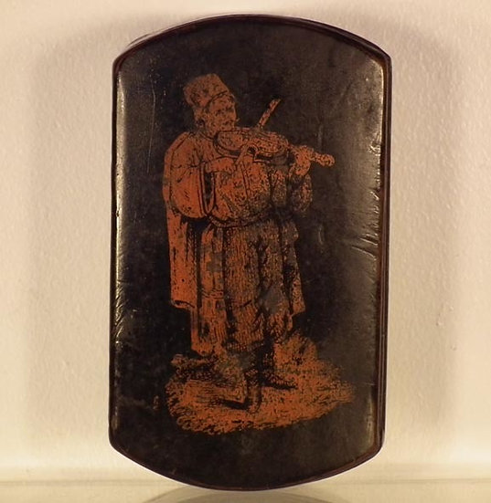 Antique 19th c Russian Lacquered Papier Mache Snuff Box Ukrainian Cossack