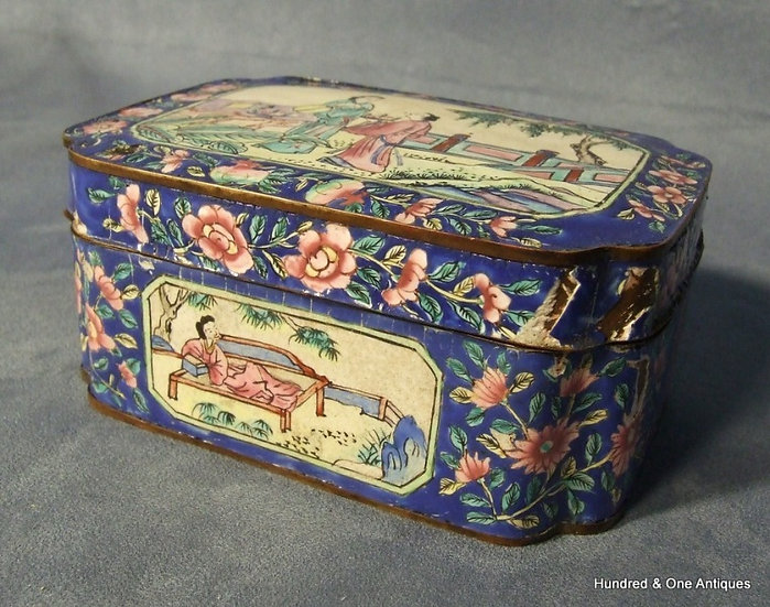 Antique Chinese Canton Enamel Enameled Box and Cover 19th Century