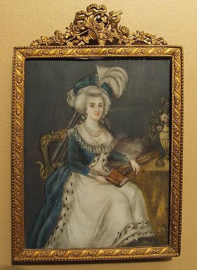 Antique Miniature Portrait on Ivory 18th century