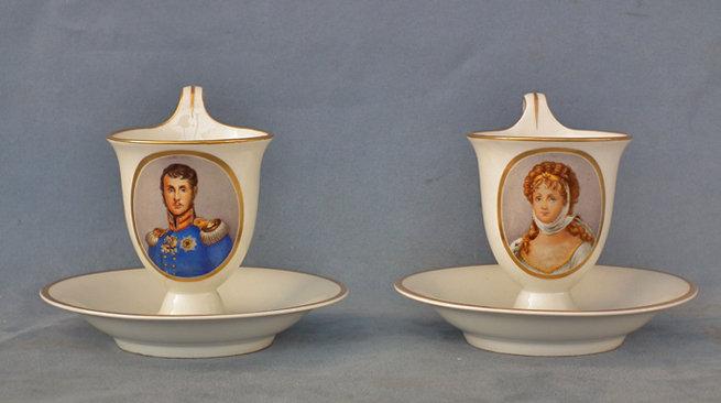Pair Napoleonic Berlin porcelain portrait Friedrich Wilhelm III of Prussia