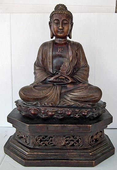 A large Chinese 19th - 20th century Bronze Figure Of Amitabha Buddha