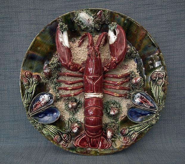 Antique Majolica Palissy Style Lobster Plate Jose Cunha Caldas da Rainh