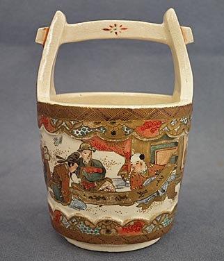 Antique Miniature Japanese Satsuma Ceramic Vase Bucket