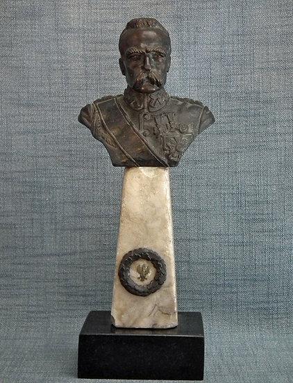 Antique Polish Bronze Sculpture Bust Of Polish Marshal Jozef Pilsudski