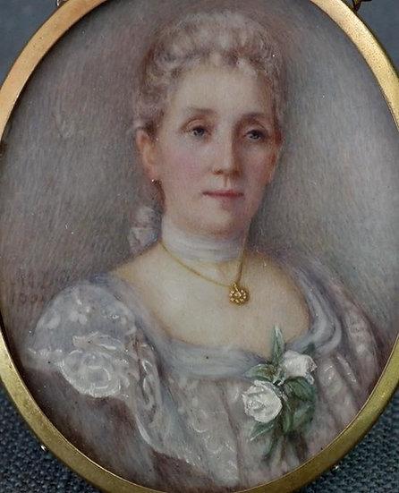 Antique 19th century Painted Miniature Portrait Of a Lady