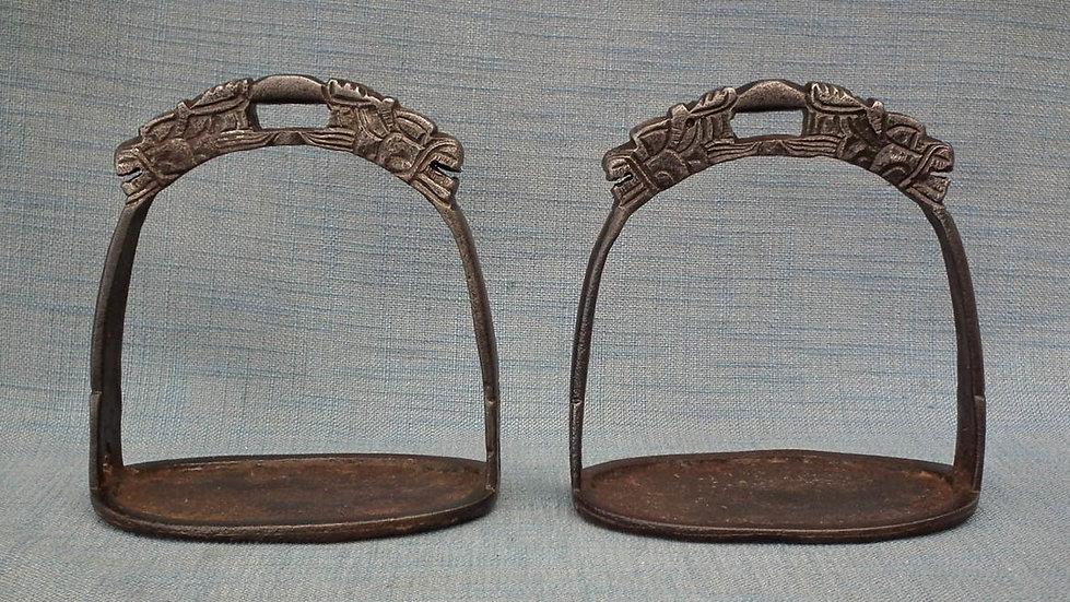 Antique Chinese Ming Dynasty Warrior Horseman Horse Saddle Stirrups
