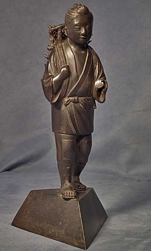 Antique Japanese Bronze Sculpture Figure Kinjiro Ninomiya Sontoku