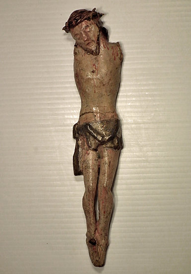 SOLD Antique 18th/19th c Spanish Colonial Santos Sculpture Christ Corpus Christi