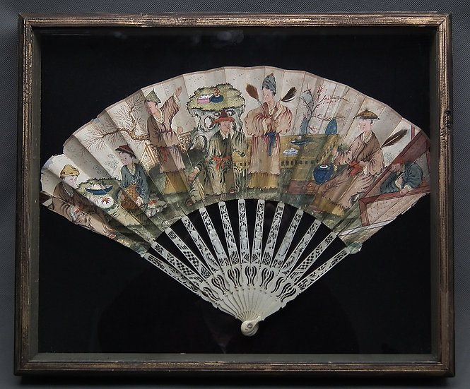 Antique 18th Century Chinese Export Fan With Chinoiserie Scene