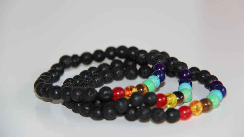 Black Lava 7 Chakra Gemstone Bracelet.