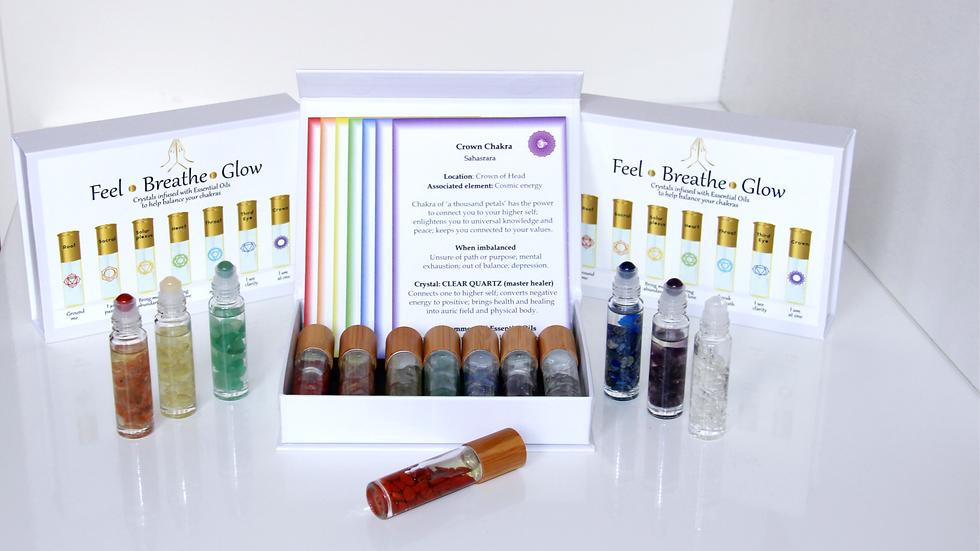 Chakra Balancing Essential Oils Crystal Roller Ball Gift Set