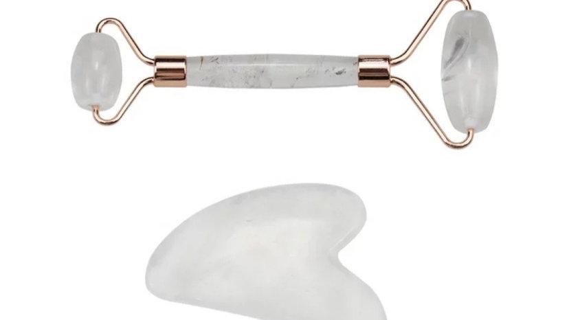 Clear Quartz Crystal Roller and Gua Sha