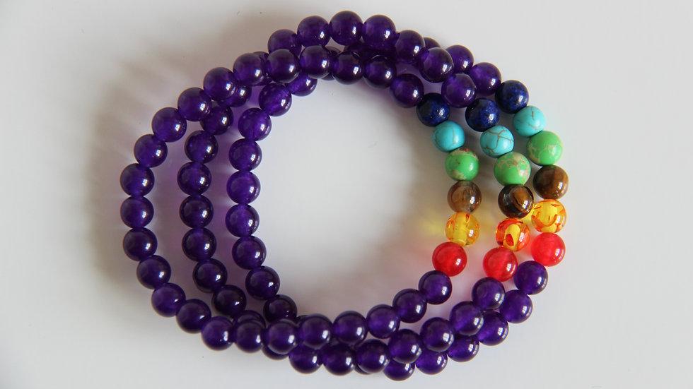 Amethyst 7 Chakra Gemstone Bracelet.