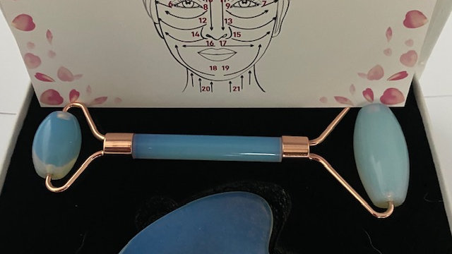 Blue Opalite Crystal Roller and Gua Sha