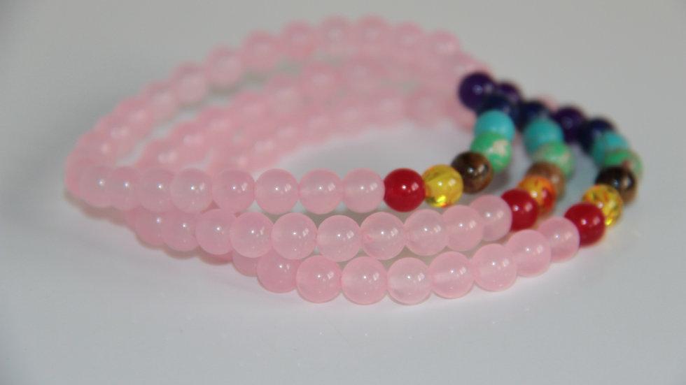 Rose Quartz 7 Chakra Gemstone Bracelet.