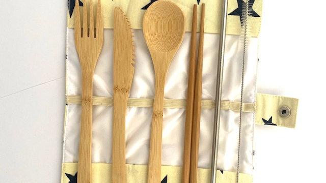 Buddy's Bamboo Cutlery Wrap - Cream and Navy Stars