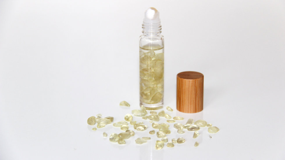 Citrine Crystal Rollerball Bottle infused with Essential Oils