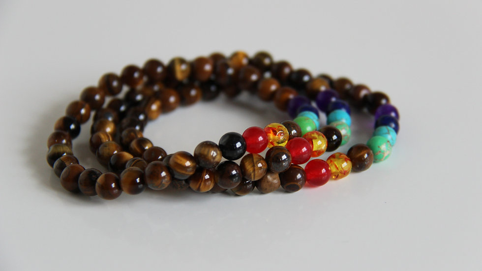 Tigers Eye 7 Chakra Gemstone Bracelet.