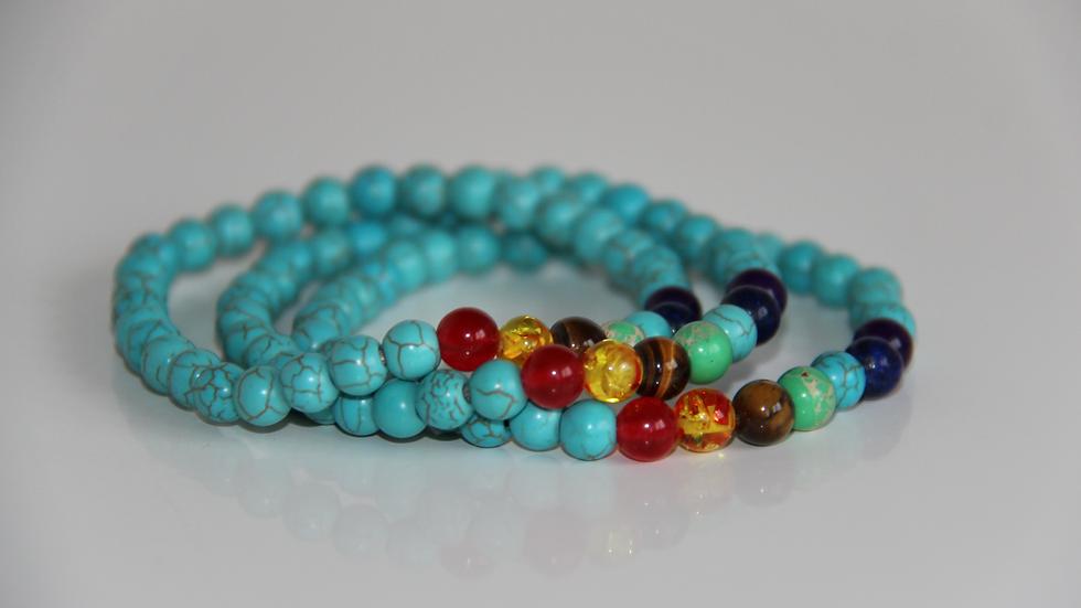 Turquoise Crystal 7 Chakra Gemstone Bracelet