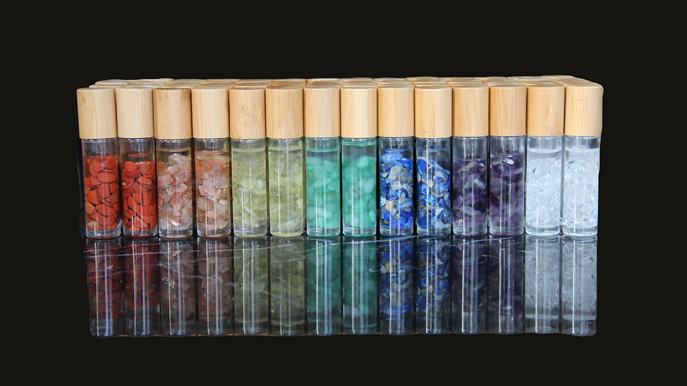 Chakra balancing crystal roller ball bottle with essential oils