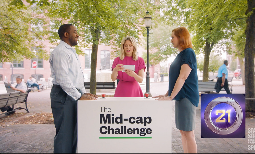 Diana Porter taking the Mid Cap Challenge with Elizabeth Banks and State Street Financial