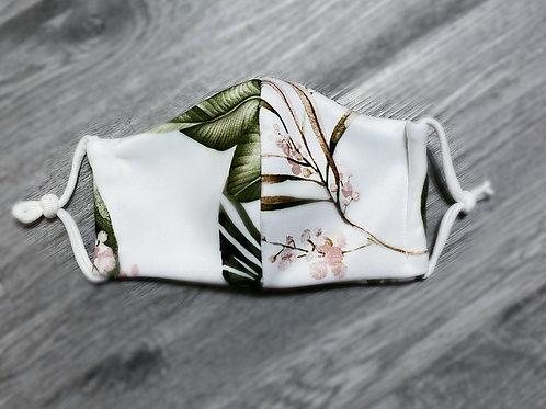 White Tropical Left Print Mask