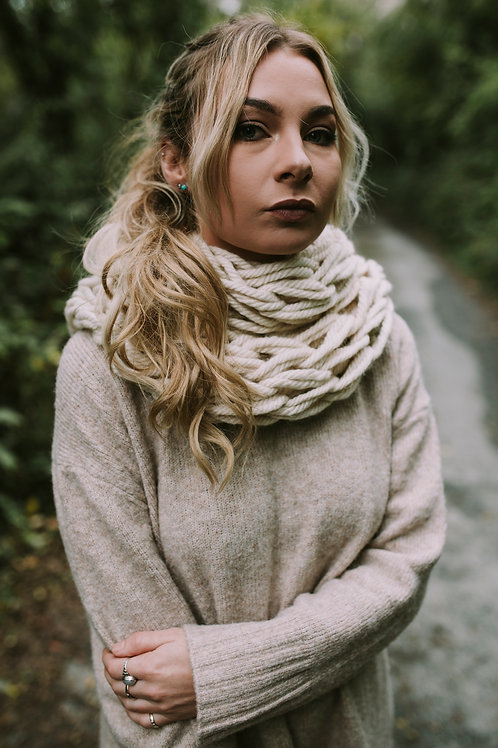 Cream Chunky Arm Knitted Snood