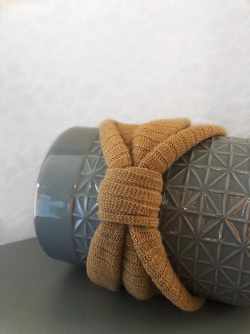Ribbed Knitted Bow Headband