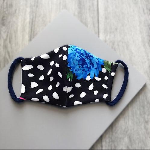 Black Floral Dalmatian Print Mask