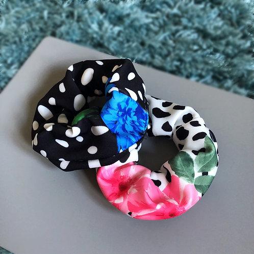 Floral Dalmatian Print Scrunchie