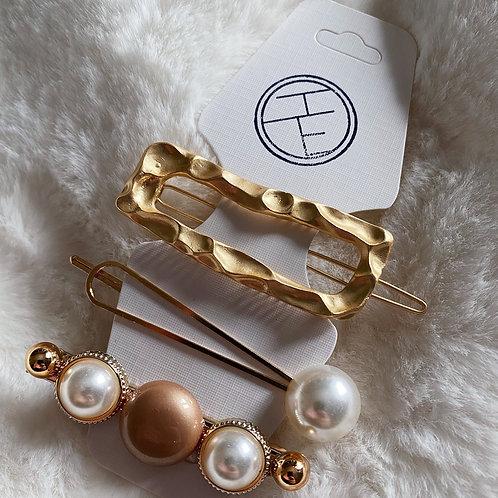 Gold Hammered Rectangle Clip Set