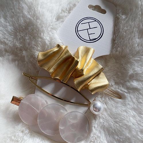 Pearl Gold Ripple Clip Set