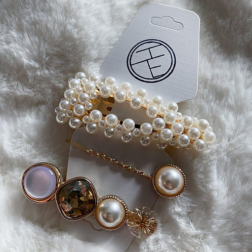 Bronze Pearl Clip Set