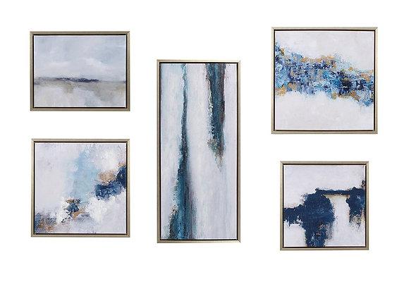 Blue Drift Framed Embellished Canvas Gallery 5PC Set