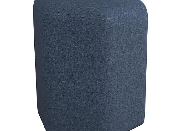 Hexagonal Upholstered Stool in Blue
